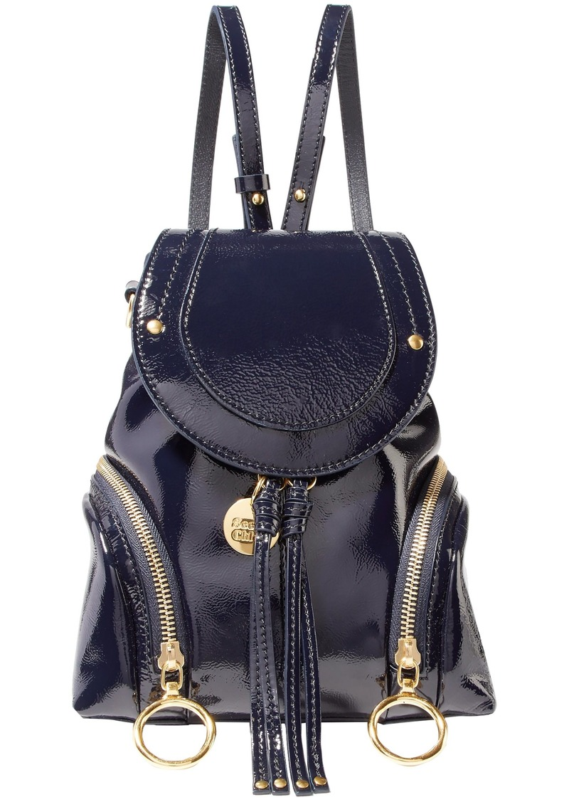 See By Chloé Woman Olga Small Patent-leather Backpack Midnight Blue