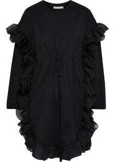 See By Chloé Woman Organza-trimmed Cotton-jersey Mini Dress Black