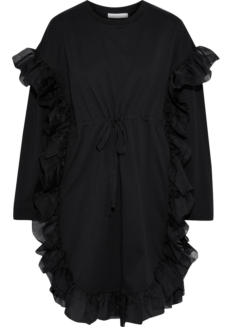 See By Chloé Woman Organza-trimmed Cotton-jersey Mini Dress Black