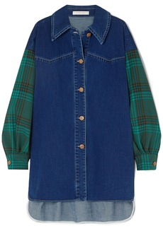 See By Chloé Woman Oversized Denim And Checked Twill Shirt Mid Denim