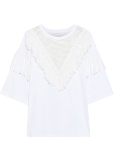 See By Chloé Woman Oversized Tasseled Crochet-paneled Cotton-jersey T-shirt White