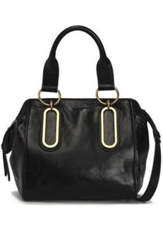 See By Chloé Woman Paige Cracked-leather Shoulder Bag Black