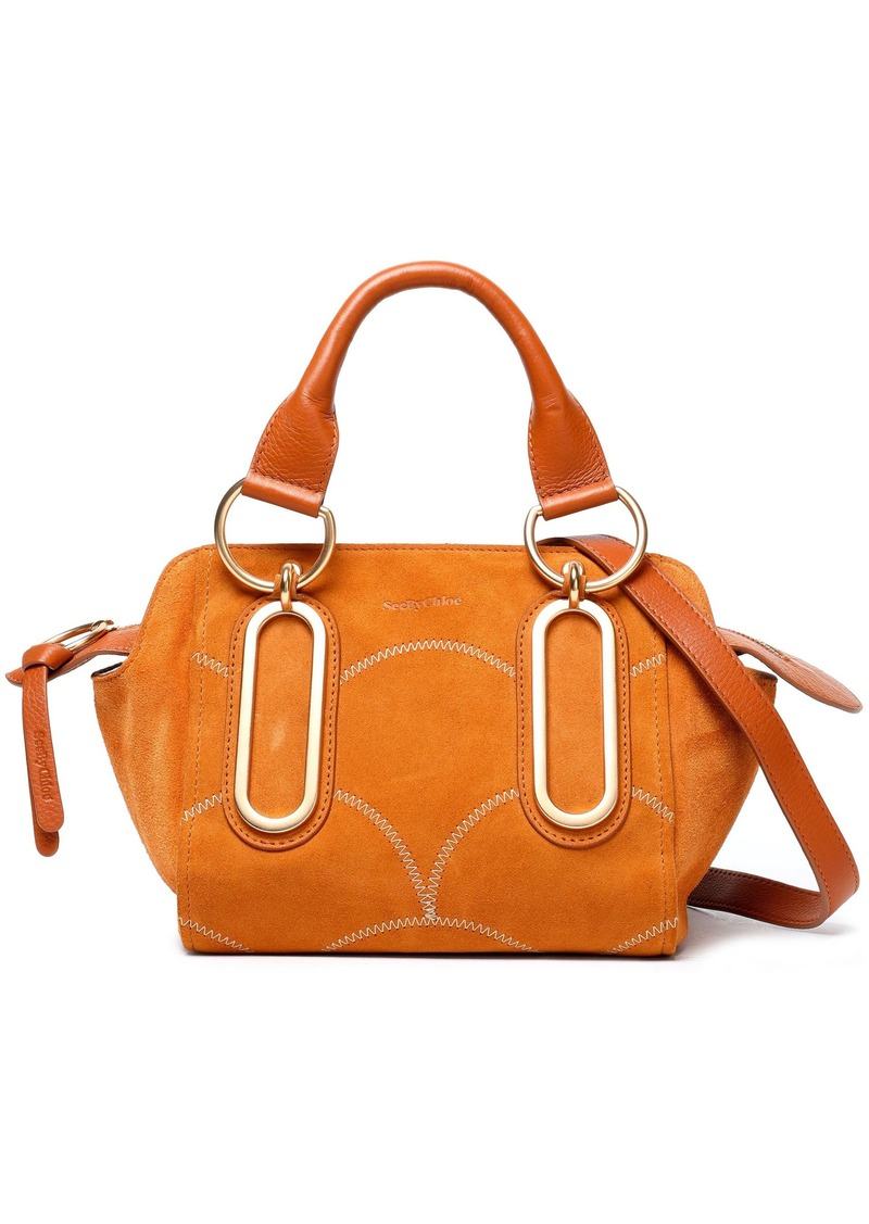 See By Chloé Woman Paige Small Leather-trimmed Embroidered Suede Shoulder Bag Camel