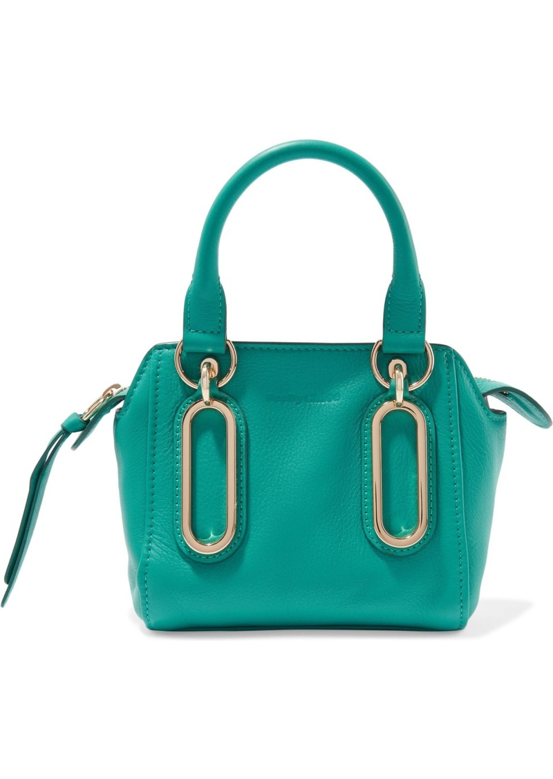 See By Chloé Woman Paige Textured-leather Shoulder Bag Turquoise