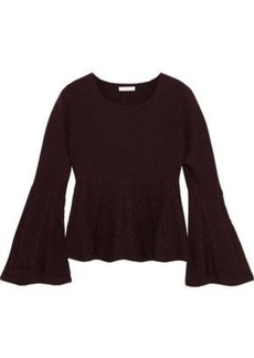 See By Chloé Woman Paneled Ribbed And Cable-knit Wool Sweater Merlot