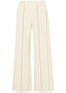 See By Chloé Woman Pinstriped Cotton-blend Crepe Wide-leg Pants Cream