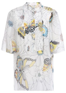 See By Chloé Woman Pintucked Printed Voile Shirt White