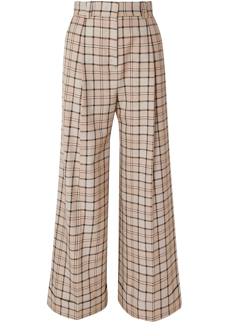 See By Chloé Woman Pleated Checked Woven Wide-leg Pants Neutral