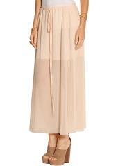 See By Chloé Woman Pleated Chiffon Maxi Skirt Peach