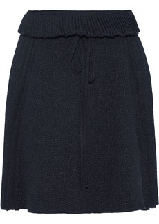 See By Chloé Woman Pleated Cloqué Mini Skirt Midnight Blue