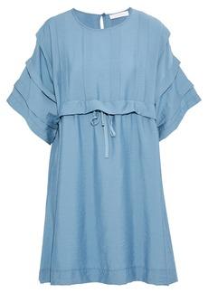 See By Chloé Woman Pleated Crinkled-faille Mini Dress Light Blue