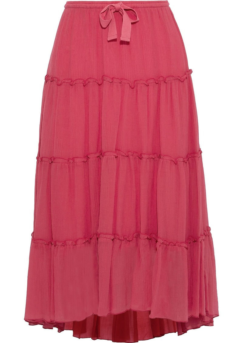 See By Chloé Woman Plissé Cotton And Silk-blend Midi Skirt Red