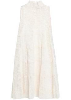 See By Chloé Woman Plissé-lace Turtleneck Dress Off-white