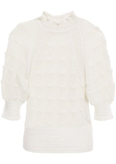 See By Chloé Woman Pointelle-knit Alpaca-blend Sweater Ivory