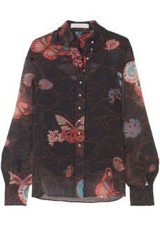 See By Chloé Woman Button-detailed Printed Chiffon Shirt Dark Gray
