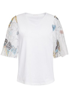 See By Chloé Woman Printed Mousseline-paneled Cotton-jersey T-shirt White