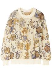 See By Chloé Woman Printed Crochet-knit Sweatshirt Pastel Yellow