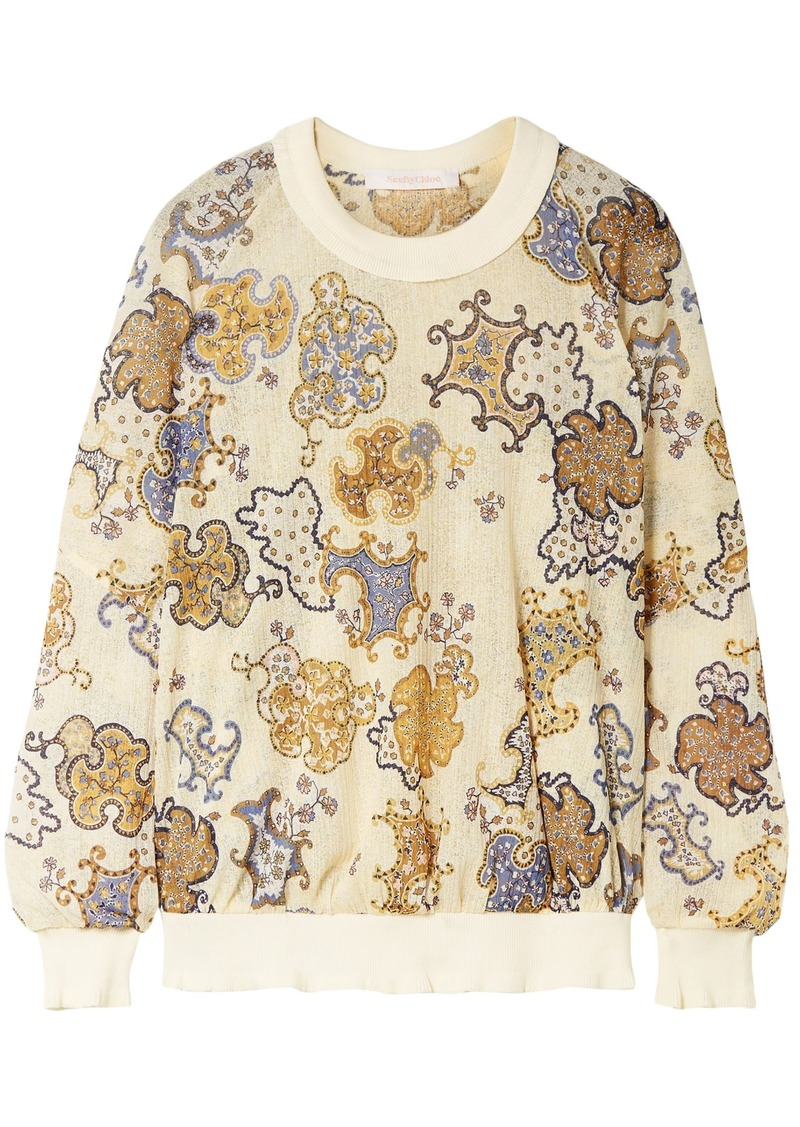 See By Chloé Woman Printed Crochet-knit Sweatshirt Pastel Yellow