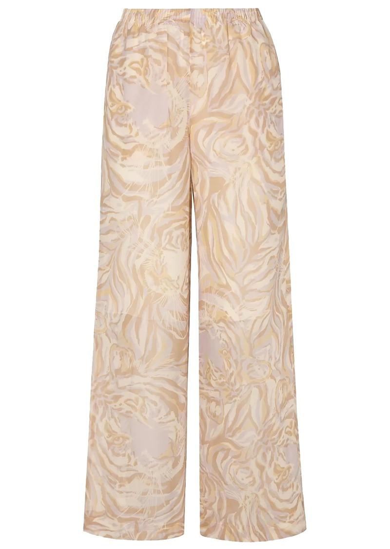 See By Chloé Woman Printed Silk-chiffon Wide-leg Pants Cream