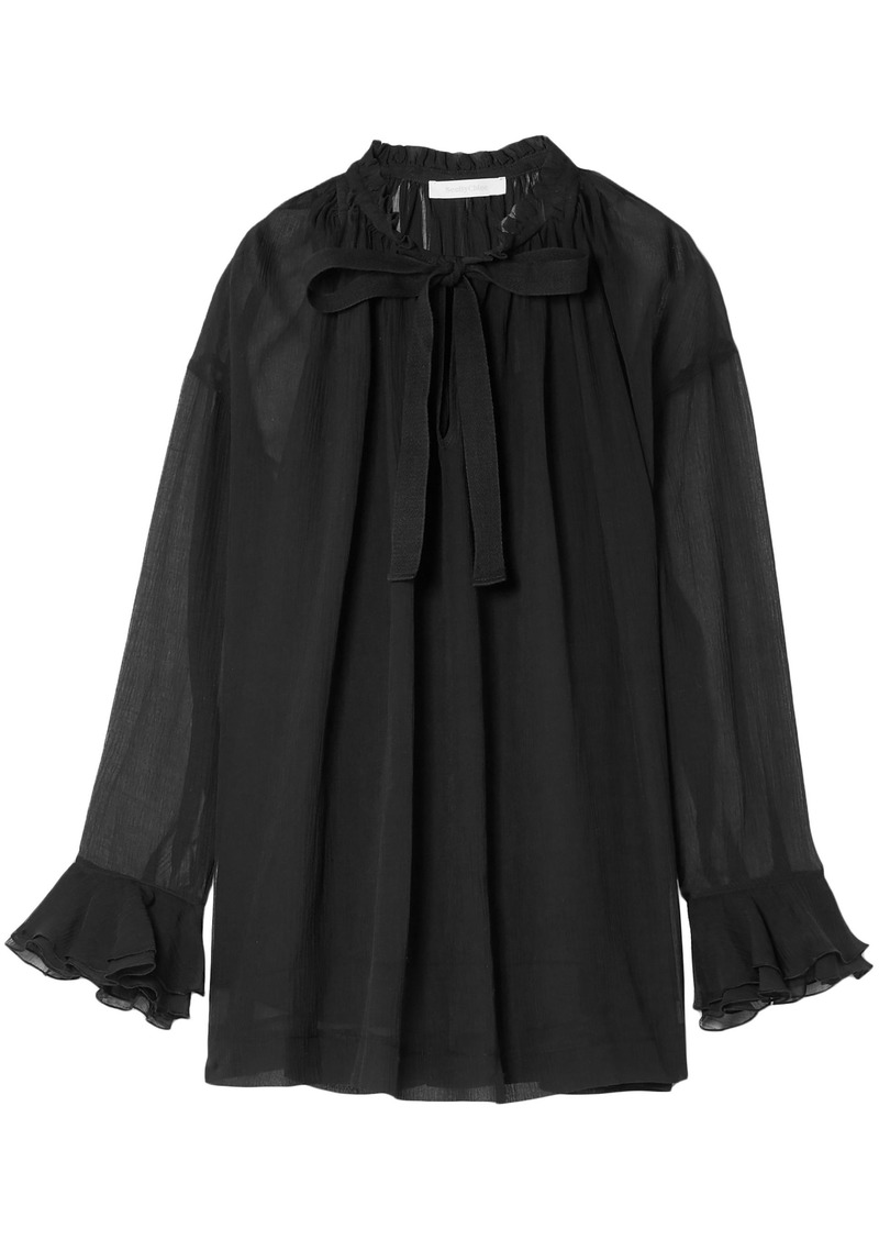 See By Chloé Woman Pussy-bow Cotton And Silk-blend Georgette Blouse Black