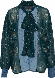 See By Chloé Woman Pussy-bow Paneled Printed Georgette Blouse Forest Green