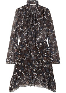 See By Chloé Woman Tie-neck Printed Georgette Dress Black