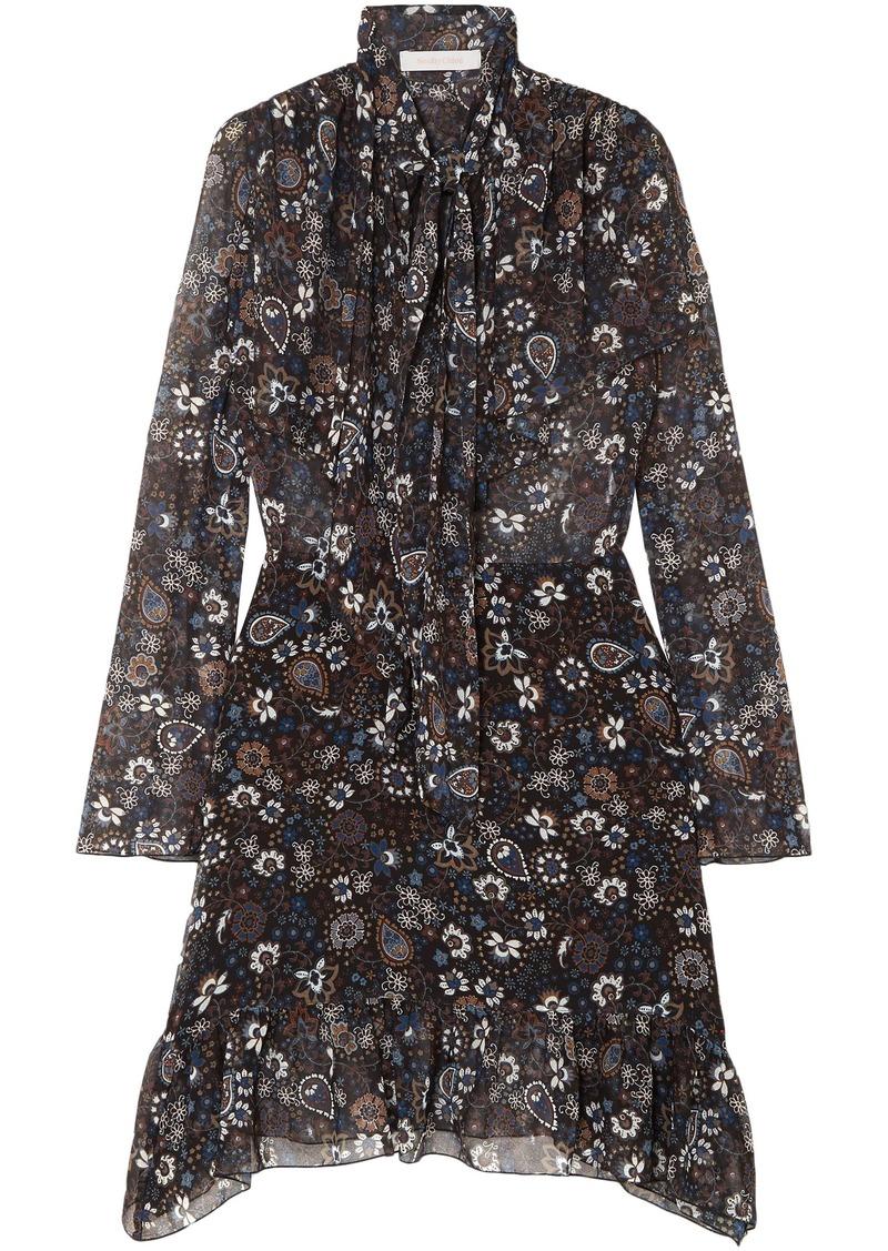 See By Chloé Woman Tie-neck Printed Georgette Dress Black