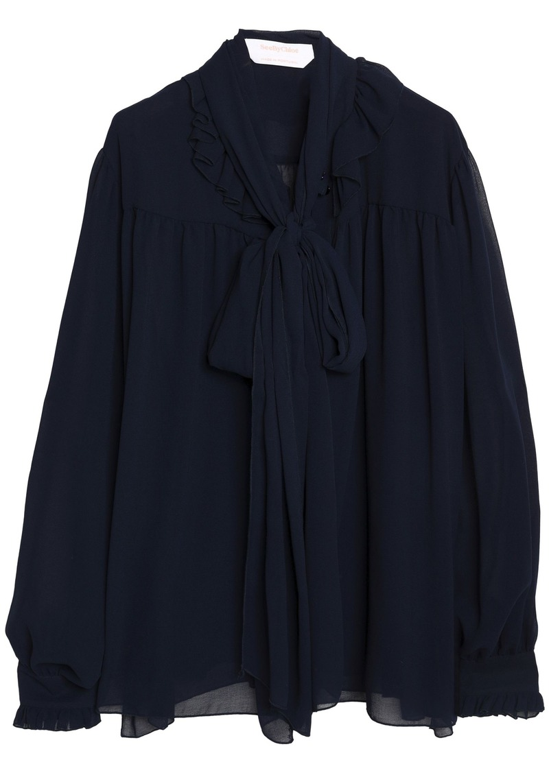 See By Chloé Woman Pussy-bow Ruffle-trimmed Georgette Blouse Midnight Blue