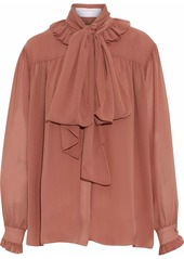 See By Chloé Woman Pussy-bow Ruffled Georgette Blouse Antique Rose