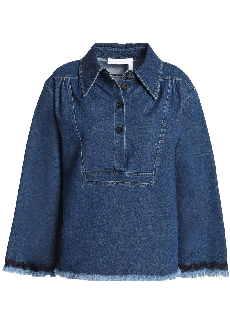 See By Chloé Woman Frayed Denim Shirt Mid Denim