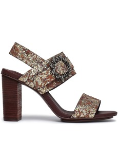 See By Chloé Woman Rosie Crystal-embellished Glittered Leather Sandals Bronze