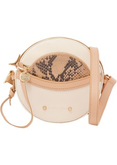 See By Chloé Woman Rosy Pebbled And Snake-effect Leather Shoulder Bag Cream