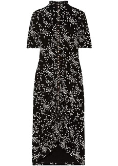 See By Chloé Woman Ruched Floral-print Stretch-jersey Dress Black