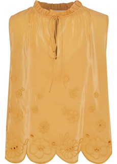 See By Chloé Woman Ruffle-trimmed Broderie Anglaise Crepe De Chine Blouse Mustard