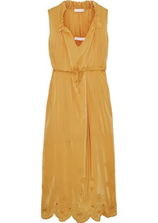 See By Chloé Woman Ruffle-trimmed Broderie Anglaise Crepe De Chine Midi Dress Mustard