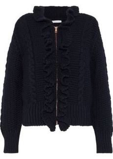 See By Chloé Woman Ruffle-trimmed Cable-knit Wool Cardigan Navy