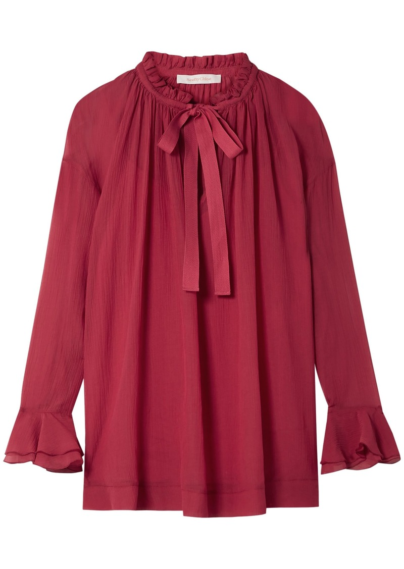 See By Chloé Woman Ruffle-trimmed Cotton And Silk-blend Georgette Blouse Crimson