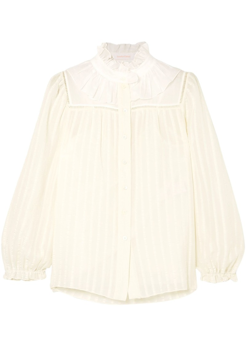 See By Chloé Woman Ruffle-trimmed Cotton-blend Jacquard Blouse White