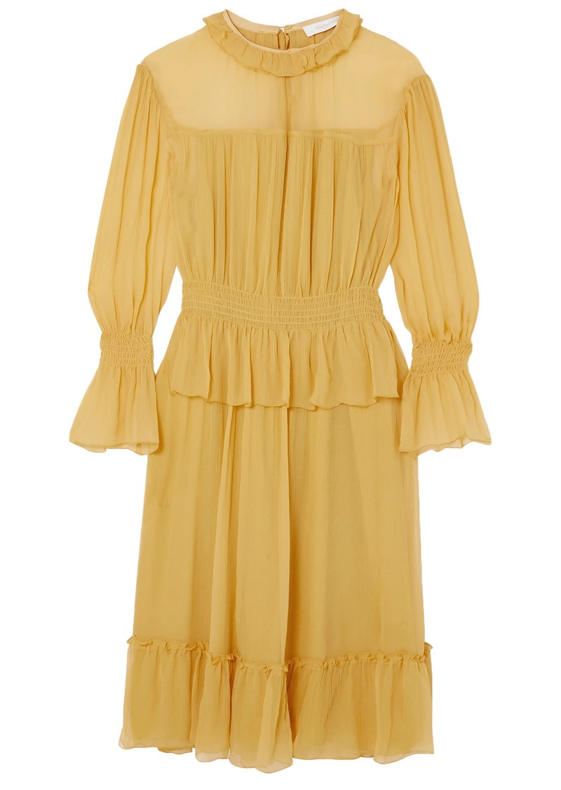 See By Chloé Woman Ruffle-trimmed Crinkled Silk Dress Yellow