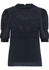 See By Chloé Woman Ruffle-trimmed Embroidered Gauze Blouse Midnight Blue