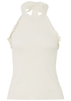 See By Chloé Woman Ruffle-trimmed Knitted Halterneck Top White