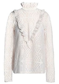 See By Chloé Woman Ruffle-trimmed Pointelle-knit Turtleneck Sweater Off-white