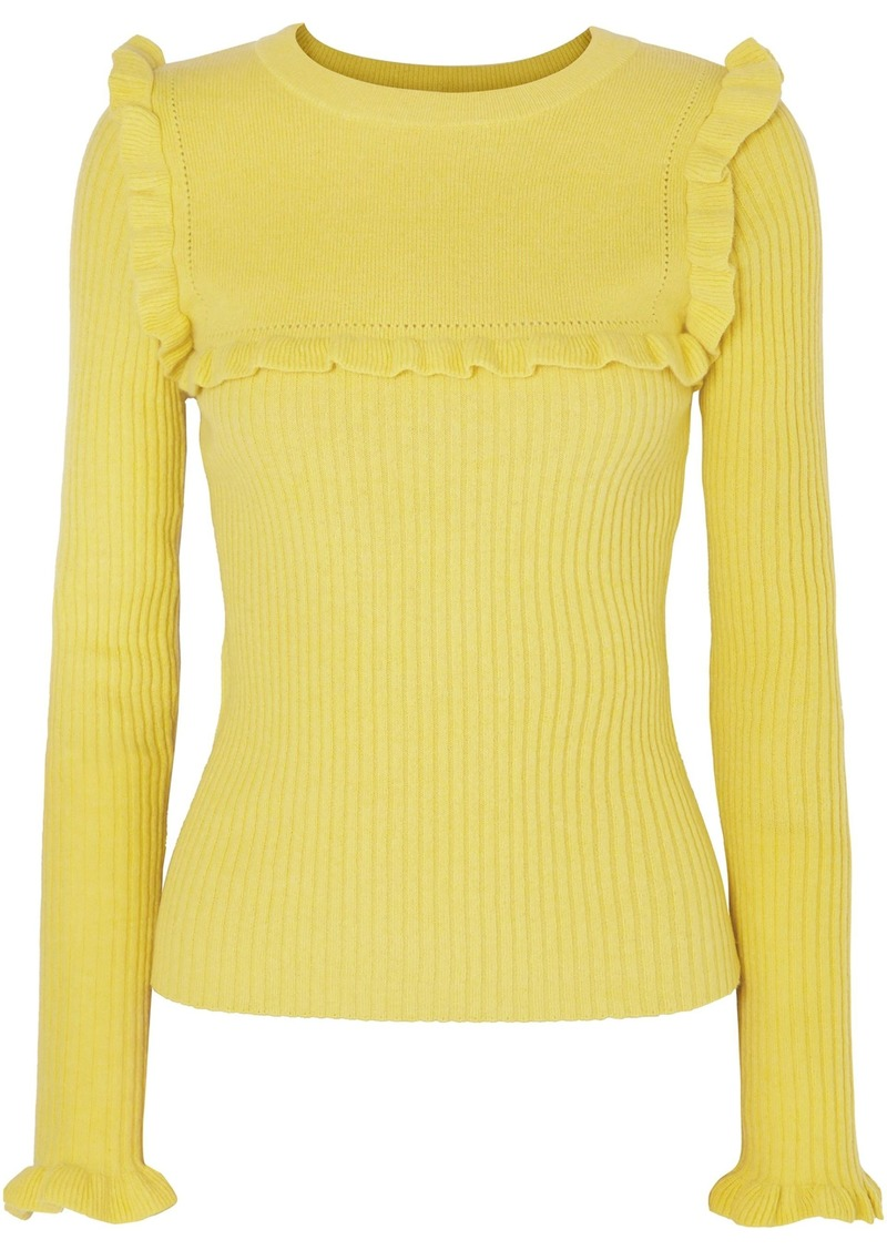 See By Chloé Woman Ruffle-trimmed Ribbed Alpaca-blend Sweater Chartreuse