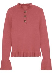 See By Chloé Woman Ruffle-trimmed Ribbed Cotton-blend Sweater Antique Rose