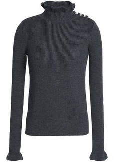 See By Chloé Woman Ruffle-trimmed Ribbed Wool Turtleneck Sweater Anthracite