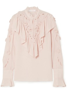 See By Chloé Woman Broderie Anglaise-paneled Ruffled Crepe De Chine Blouse Blush