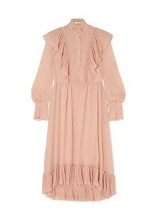 See By Chloé Woman Ruffled Plissé-georgette Midi Dress Blush
