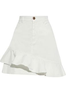 See By Chloé Woman Ruffled Cotton-blend Twill Mini Skirt White