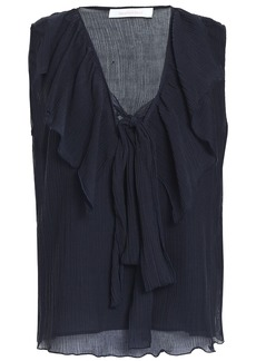 See By Chloé Woman Ruffled Crinkled Cotton And Silk-blend Gauze Blouse Navy