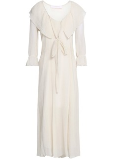 See By Chloé Woman Ruffled Crinkled Cotton And Silk-blend Gauze Midi Dress Ivory